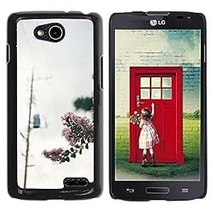 Be Good Phone Accessory // Dura Cáscara cubierta Protectora Caso Carcasa Funda de Protección para LG OPTIMUS L90 / D415 // Blooming Photo Power Lines Grey Sky