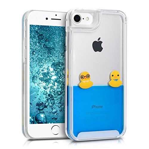 - kwmobile hardcase Cover for Apple iPhone 7/8 with Liquid - hardcase backcover Protective case Water with Rubber Ducks in Yellow/Blue/Transparent