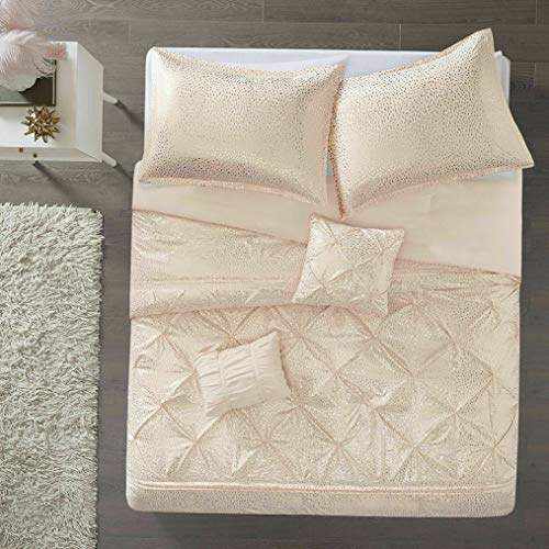 (Kaputar Beautiful Chic Soft Pink Gold Shine Metallic Ruffled Tufted Girls Comforter Set   Model CMFRTRSTS - 2057   Full)