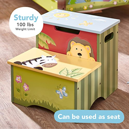 Fantasy Fields - Sunny Safari Animals Thematic Kids Wooden Step Stool with Storage | Imagination Inspiring Hand Crafted & Hand Painted Details   Non-Toxic, Lead Free Water-based Paint