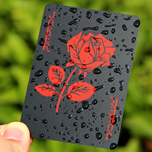 Wall of Dragon Rose Design Plastic PVC Black Poker Waterproof Playing Cards Novelty Collection Gift Durable Poker by Wall of Dragon
