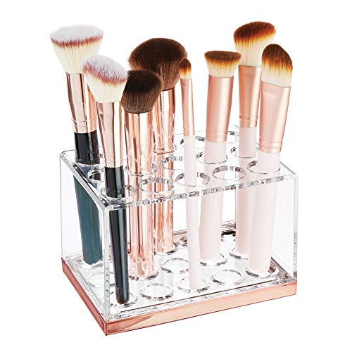 mDesign Plastic Makeup Brush Storage Organizer with 15 Slots for Bathroom Countertop, Vanity to Hold Eye/Lip Pencils, Lip Gloss, Liners, Lipstick - Clear/Rose -