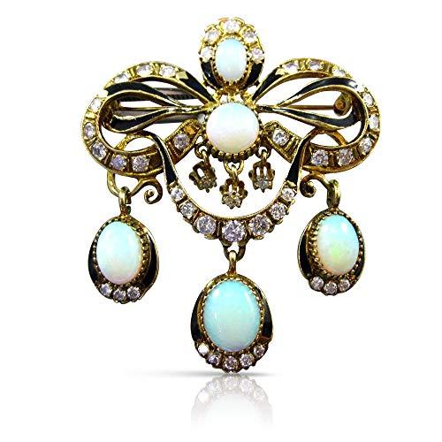 Milano Jewelers Extra Large 7.0CT Diamond & Opal 14K Yellow Gold Brooch/Pendant #23377