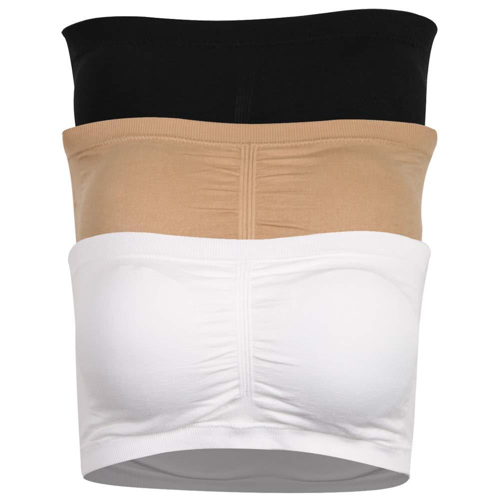 DD DEMOISELLE Padded Tube Bra for Women, Breathable Comfy Strapless Basic Sports Bra Student Tube Bra