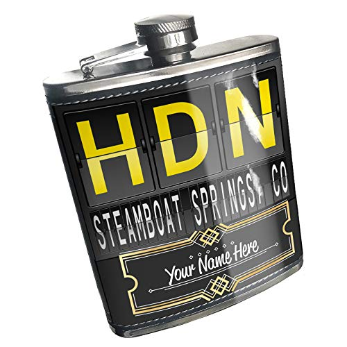 Neonblond Flask HDN Airport Code for Steamboat Springs, CO Custom Name Stainless Steel