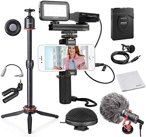 Movo Huge Smartphone Video Kit V8 with Mini Tripod, Grip Rig, Wireless Shotgun Mini and 360° Stereo Microphones, LED Light, and Remote - for iPhone, Samsung - YouTube Equipment, Vlogging Equipment