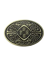 Lanxy Men's Irish Celtic Knots Bronze Vintage Oval Metal Belt Buckle
