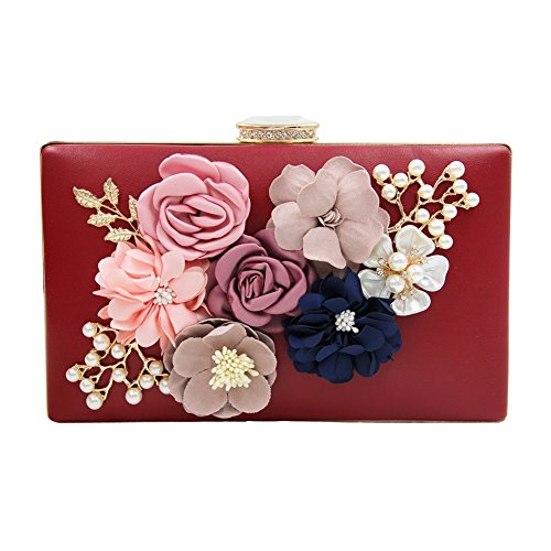 Women's Clutch Beaded Pearls Flower Satin Case Dasior Party Evening Handbag Burgundy dnq8Id