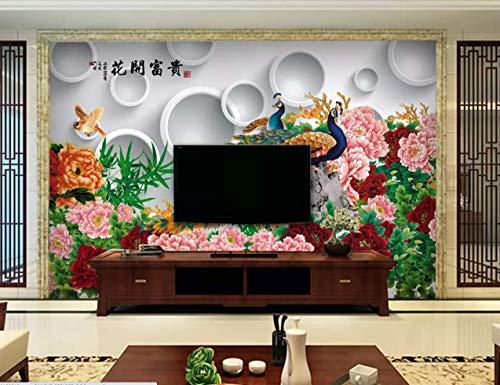 Wallpaper 3D Wallpaper Chinese Style Peony Peacock Circle Wall Mural -