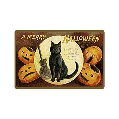[Our Iris Machine-washable Door Mat A Merry Halloween Decorative Doormat Indoor/Outdoor Doormat Non-woven Fabric Non Slip Gate Pad Rug 23.6(L) x] (Halloween Decor For Home)
