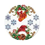 iPrint Polyester Round Tablecloth,Christmas Decorations,Classic Decorative Design Stocking Santa Hat Mistletoe Snowflakes,Multi,Dining Room Kitchen Picnic Table Cloth Cover Outdoor Indoor
