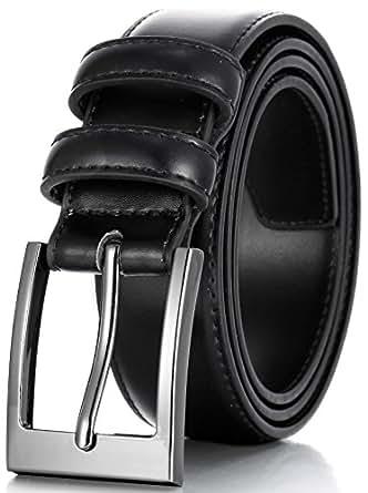 Marino's Men Genuine Leather Dress Belt with Single Prong Buckle - Black - 30