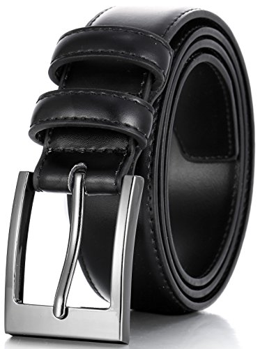 Marino's Men Genuine Leather Dress Belt with Single Prong Buckle - Black - 42