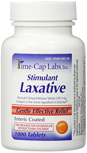 Bisacodyl 5 mg Generic for Dulcolax Laxative Enteric Coated Tablets Bottle of 1000 ea - Enteric Coated Laxative
