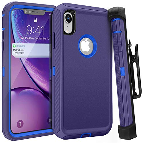 FOGEEK iPhone XR Case, Belt Clip Holster Heavy Duty Kickstand Protective Cover [Dust-Proof] [Shockproof] Compatible for Apple iPhone XR [6.1 inch] (Dark Blue)