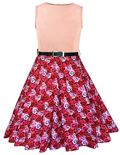 Sharequeen Girls Summer Dress Floral Print Sleeveless Swing Sundress Special Occasion A099 (8-9 Years, Pink) -
