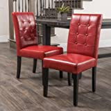 Beautifully Designed Red Bonded Leather Dining Chairs (Set of 2), Tough wood construction, Tufted Backrest, Add Funky Style to Your Open-Plan Home
