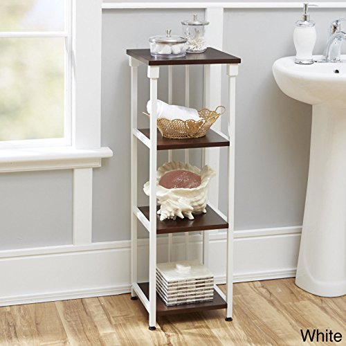 e Mixed Material Bathroom Collection 4-Tier Linen Shelf Organize Your Bathroom Looking Marvelous (Streamline Trolley)