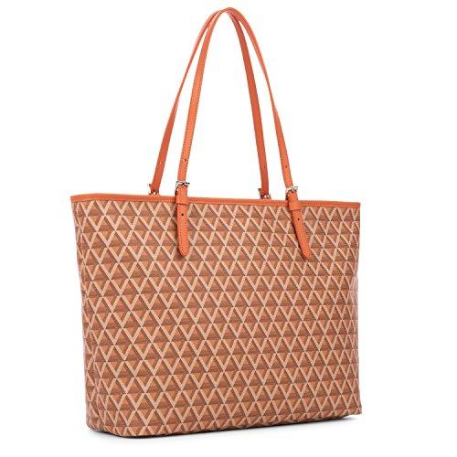 lancaster-paris-womens-41804orange-orange-canvas-tote