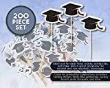 Bamboo Cocktail Picks - 200 Pieces of Graduation Cap Toothpicks - Disposable Cupcake Toppers Themed Party Favors for Kids Birthday, Cake Decoration Supplies, Sandwich Holders