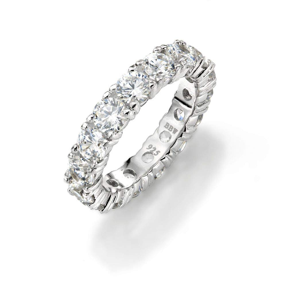 NYC Sterling 4mm Sterling Silver 925 Cubic Zirconia Cz Eternity Engagement Wedding Band Ring (9)