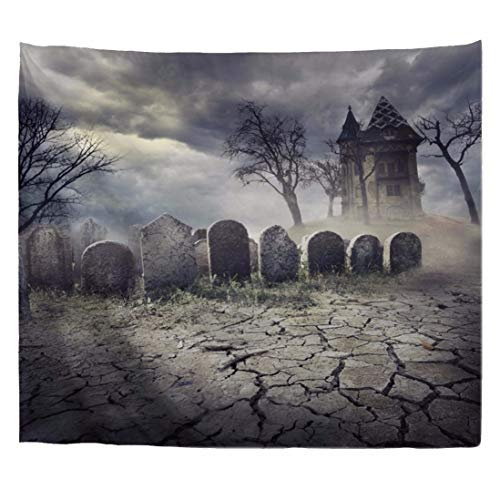 A.Monamour Halloween Theme Gothic Graveyard Tombstone Haunted Castle