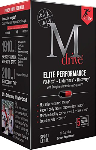 Mdrive Elite Energizing Testosterone Support with Cordyceps, Fenugreek and KSM 66, 90 Count