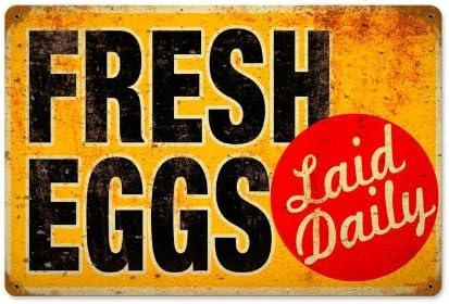Metal Tin Sign farm fresh eggs laid daily Decor Bar Pub Home Vintage Retro
