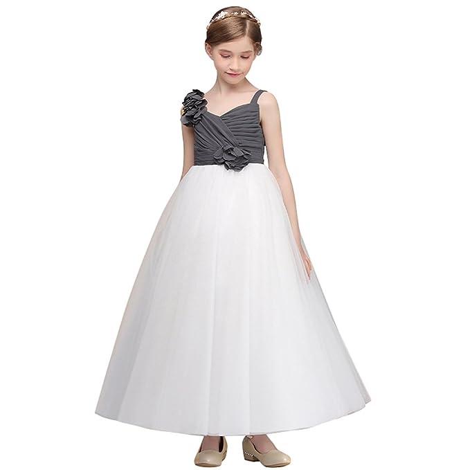 OBEEII Vestidos de Fiesta Boda Ceremonia Vestido Largo de Princesa Encaje de Flores Sin Mangas para