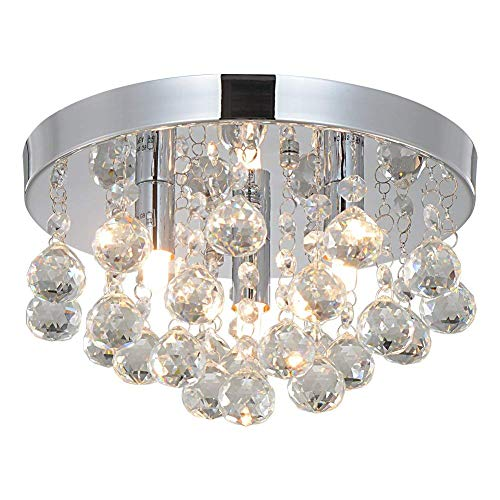 (Crystal Chandeliers Lighting Sold By RH RUIVAST, Flush Mount Ceiling Light 3G9 Lights Fixture, H9.85'' x W5.7'' ,Mini Style Modern Ceiling Lamps Used for Bedroom Dining Room Study Balcony and Aisle)