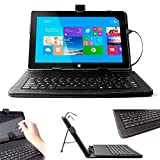 DURAGADGET Compact Sleek BLACK Faux Leather Protective Hard Carry Case With Built-In QWERTY Keyboard, Handy Stylus AND Built in Stand Specially Designed for Microsoft Surface Tablet Microsoft Surface Pro