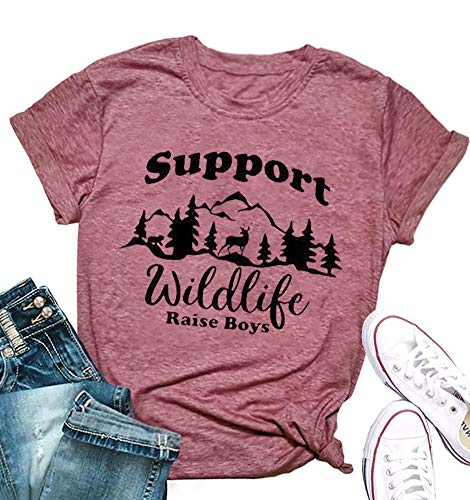 Wildlife Graphic - MOMOER Boy Mom Shirt for Women Support Wildlife Raise Boys Funny Graphic Tshirt Mothers Day Mama Short Sleeve Tops Tees Red