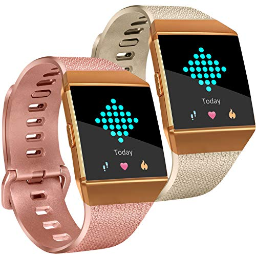 Tobfit Compatible Silicone Bands Replacement for Fitbit Ionic (2 Pack), Classic Wristbands Accessories Sport Straps for Women Men, Large, Champagne Gold, Rose Gold