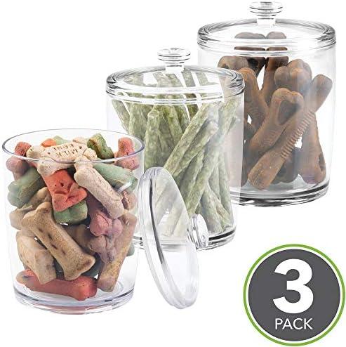 mDesign Juego de 3 contenedores para pienso – Práctica Caja con Tapa para Comida para Perros y Gatos – Caja para pienso pequeño y golosinas para Mascotas – Transparente: Amazon.es: Hogar