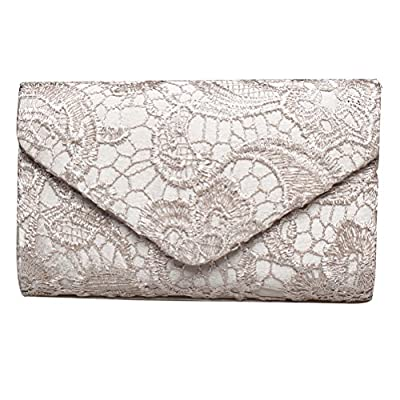 Fashion Road Evening Clutch, Womens Floral Lace Envelope Clutch Purses, Handbags For Wedding And Party
