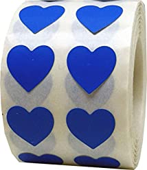 Blue Heart Stickers, 1/2 Inch Wide, 1000 Labels on a Roll