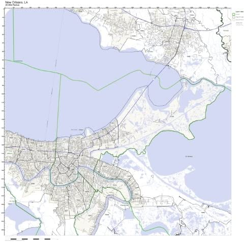 new orleans zip codes map Amazon Com New Orleans La Zip Code Map Laminated Home Kitchen new orleans zip codes map