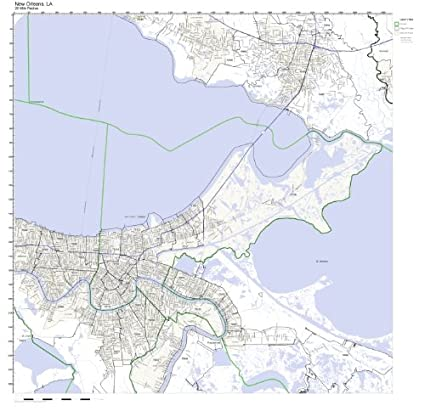 Zip Codes New Orleans Map.Amazon Com New Orleans La Zip Code Map Not Laminated Home Kitchen