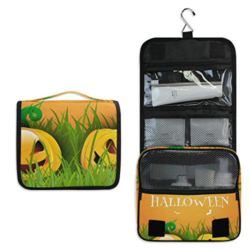 Hanging Toiletry Bag Happy Halloween With Pumpkins Large Capacity Travel Bag for Women and Men - Toiletry Kit, Cosmetic Bag, Makeup Bag - Travel Accessories -