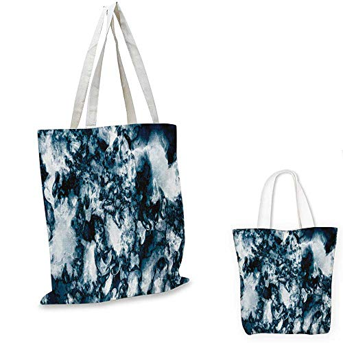 Marble royal shopping bag Unusual Gemstone Onyx Rock Nature Pattern with Vintage Paintbrush Effects funny reusable shopping bag Slate Blue Pearl. 12