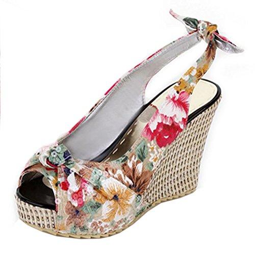 Coolcept Women Fashion Slip On Sandals Wedge Heel Slingback Pumps Peep Toe Shoes White UgfSvEsW