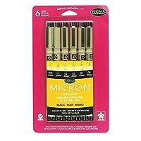 Sakura Pigma 30062 Micron Blister Card Juego de bolígrafos de tinta, Negro, Tamaño de puntos de ajuste 6CT