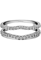 Silver Double Shared Prong Curved Ring Guard with CZ (1 ct. twt.)