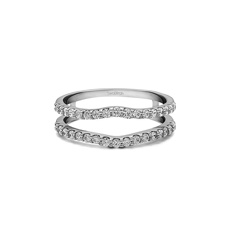 TwoBirch Sterling Silver Double Shared Prong Curved Ring Guard with Diamonds (G H,I2 I3) (0.24 ct. tw.)