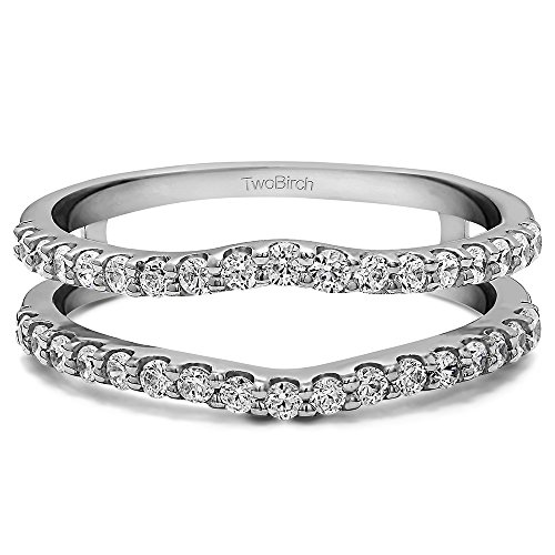 0.24 ct. Diamonds (G-H,I2-I3) Double Shared Prong Curved Ring Guard in Sterling Silver (1/4 ct. twt.) by TwoBirch