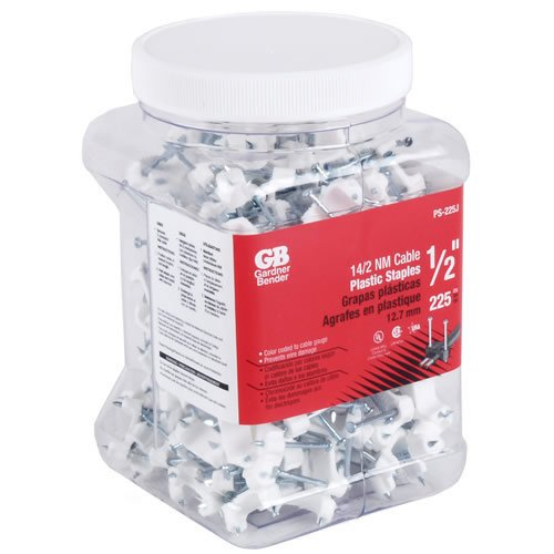 Gardner Bender 04467-6 225 Count .5 in. Plastic Cable Staples - 6 Packs