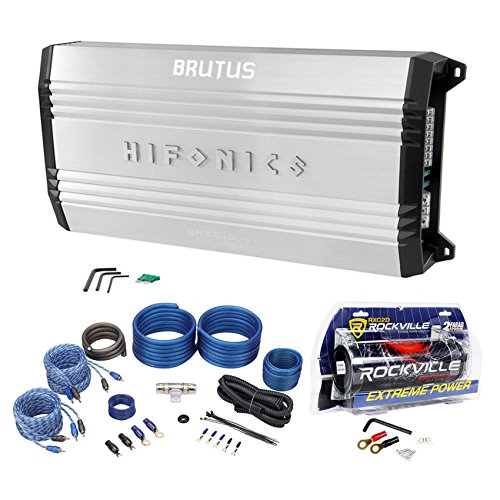 New Hifonics Brutus BRX616.4 600W RMS 4-Channel Car Amplifier+Amp Kit+Capacitor (40 Farad Digital Capacitor)
