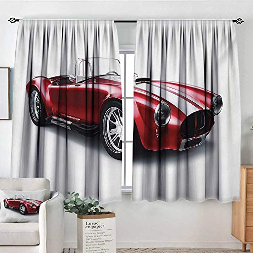 Mozenou Cars Window Curtain Fabric Old-Fashioned Vintage Coupe Car Automobile Illustration with Digital Smooth Color Effects Decorative Curtains for Living Room 55