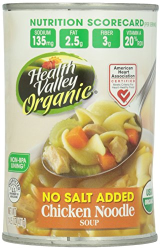 Health Valley Organic No Salt Added Soup, Chicken Noodle, 14.5 Ounce