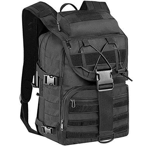 KOMEX Military Tactical Assault Backpack Army Assault Pack 3-Day Expandable Bag Molle Rucksack for for Hiking Camping Trekking Hunting Travel Black